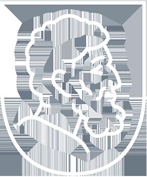 La tête d'Epicure stylisée du logo d'EPICUREAM, en traits blancs.